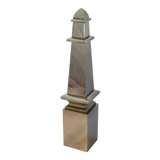 Vintage Silver Metal Tall Obelisk Sculpture For Sale