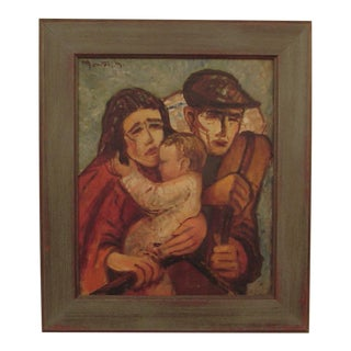 1940s Expressionist Style Portrait of a Family Oil Painting, Framed For Sale