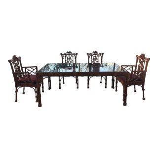 1970s Chippendale American of Martinsville Pagoda Dining Set - 5 Pieces For Sale