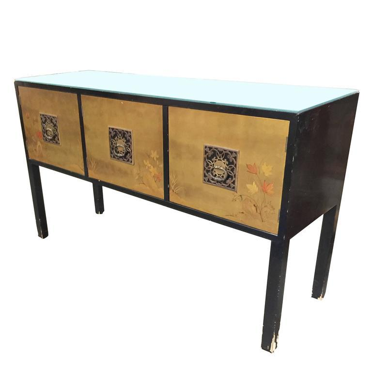 Beautiful James Mont Style Asian Inspired Console Cabinet With Hand Painted Doors    Image 4 Of