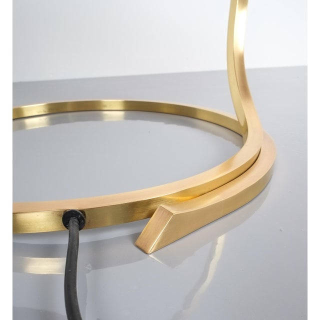 Gold Large Pair of Refurbished Brass Rhubarb Table Lamp Tommaso Barbi, Italy, 1970 For Sale - Image 8 of 9