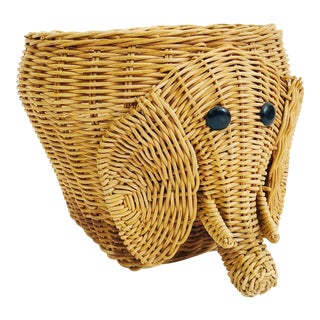Vintage Wicker Elephant Basket For Sale