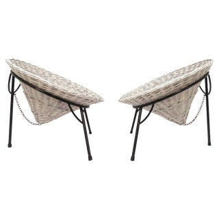 "Pair of Roberto Mango Wicker ""Sunflower"" Garden Chairs for Tecno, Circa 1950s For Sale"