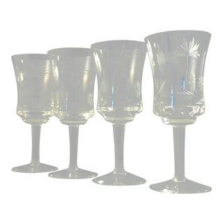 Vintage Romania Etched Stemware - Set of 4