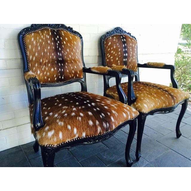 French French Axis Deer Arm Chairs - Pair For Sale - Image 3 of 11