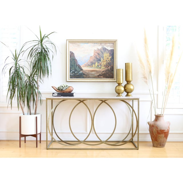 Modern Geometric Gold Iron White Marble Console Table For Sale - Image 4 of 7
