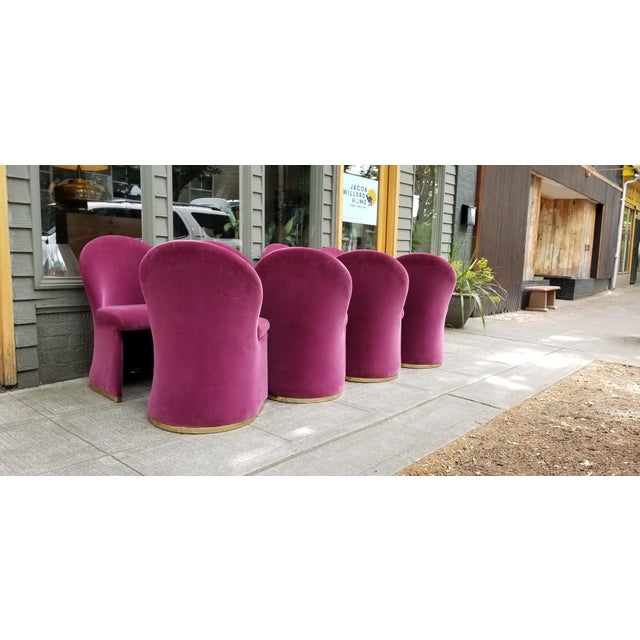 Mid-Century Purple Velvet Dining Chairs - Set of 8 - Image 5 of 8