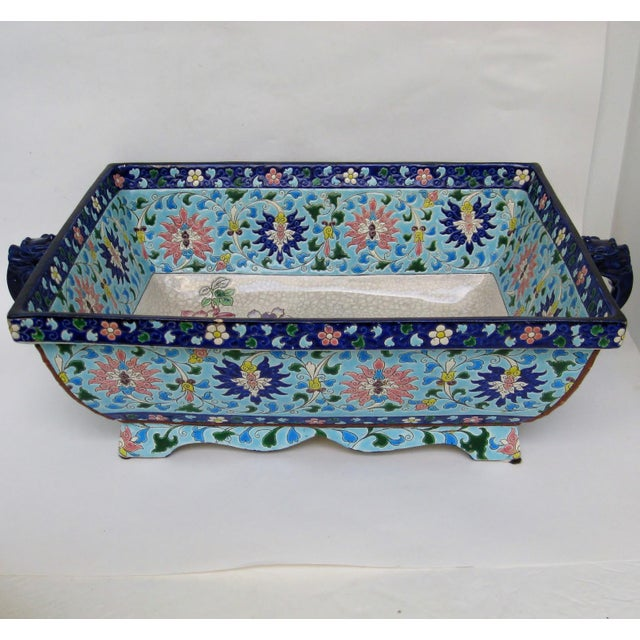 Oversize antique French faience ceramic jardiniere from Longwy, with intricate hand-painted enamelwork of design and bird,...