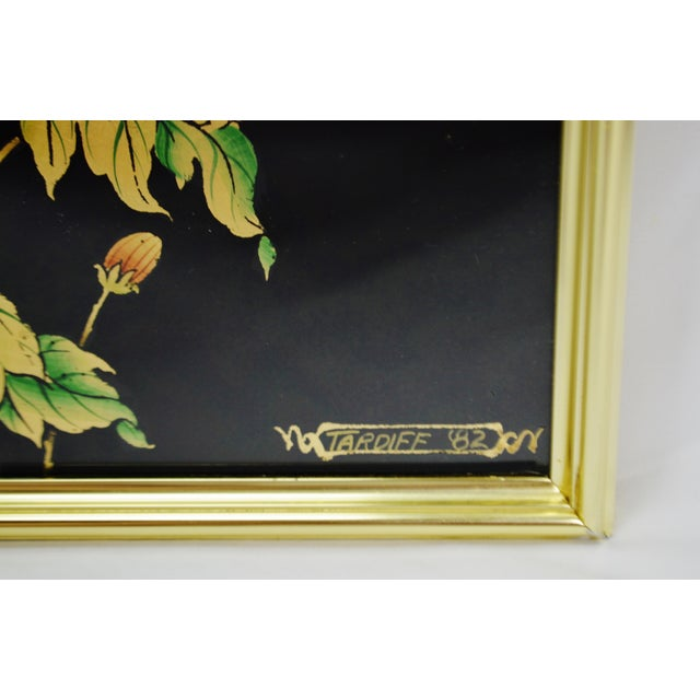 Vintage La Barge Reverse Painted Glass Frame With Beveled Mirror - Artist Signed For Sale - Image 9 of 13