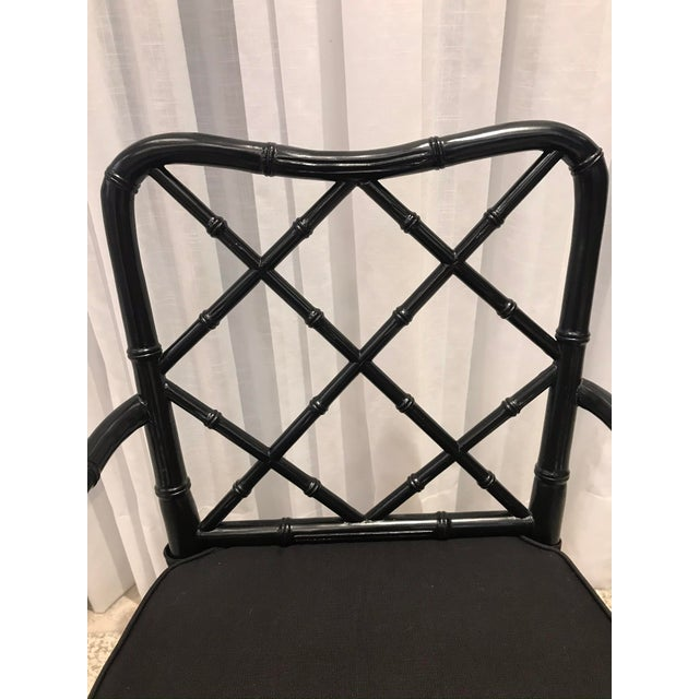 Early 21st Century Black Chippendale Arm Chairs with Detachable Cushions - Set of 4 For Sale - Image 5 of 13
