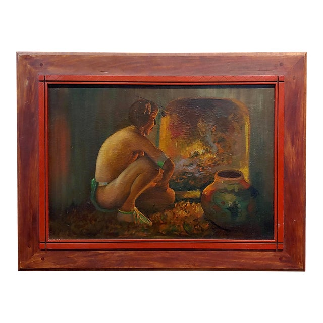 "Taos Pueblo ""Indian by the Fireplace"" Native American Oil Painting For Sale"
