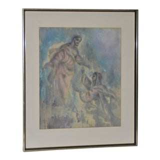Charles Ware Mary Magdalene Original Watercolor on Linen C.1969 For Sale