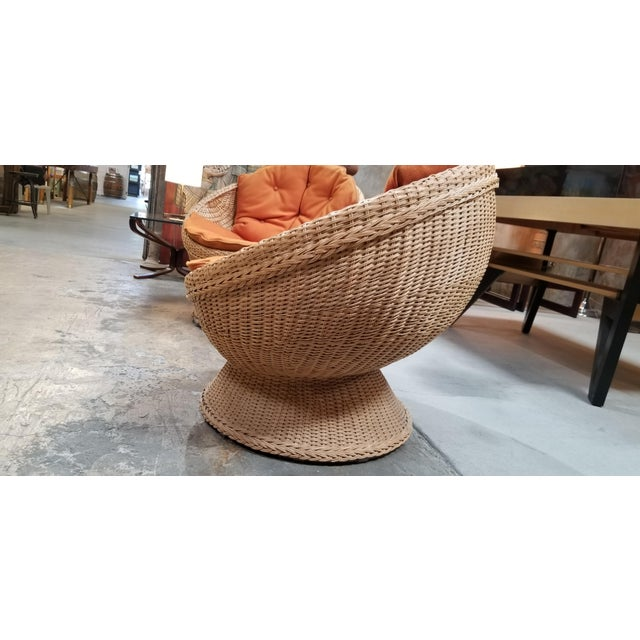 1970s 1970's Mod Rattan Lounge Chairs, a Pair For Sale - Image 5 of 10