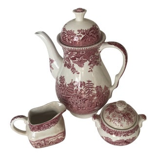 Antique English Toile Coffee Service - Set of 3 For Sale
