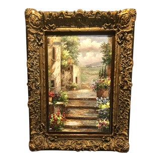 "Oil Painting Mediterranean Scene Garden Courtyard Molded Frame 51"" X 39"" For Sale"