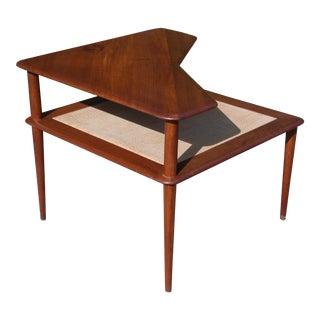 Vintage Mid Century Danish Modern Peter Hvidt Teak & Cane Minerva Corner Table For Sale