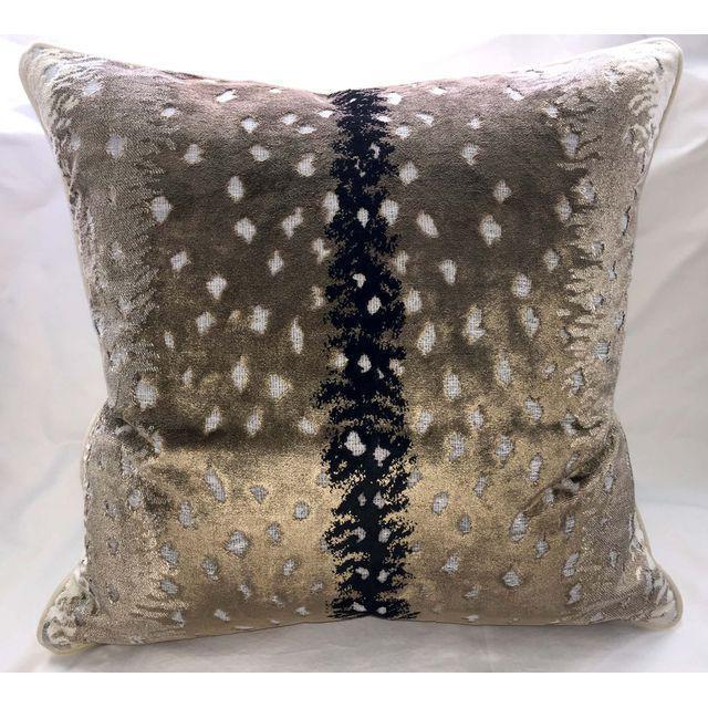 Pair of large Scalamandre Belgian Antelope velvet pillows. Each pillow is backed with a solid velvet fabric from Kravet...