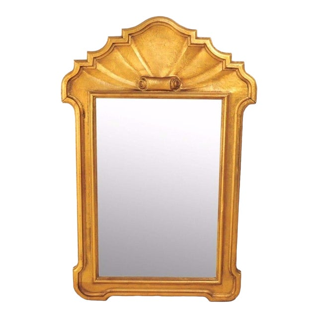 1950s Italian Carved Wood Gold Scroll Shell Form Wall Console Decorator Mirror - Image 1 of 9