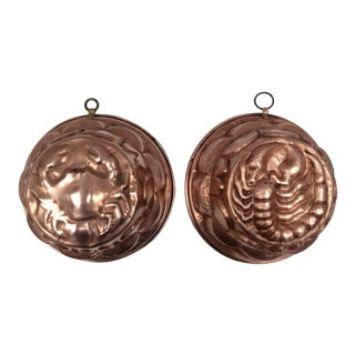 Vintage French Crab and Lobster Copper Molds - a Pair