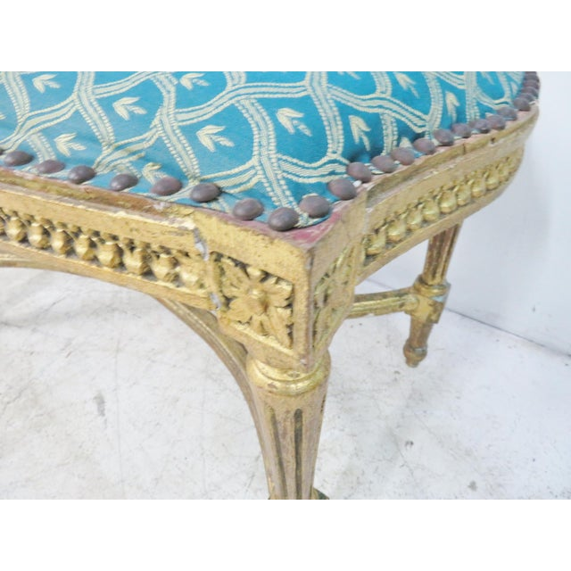 Louis XVI Blue & Gold Gilt Bench For Sale In Philadelphia - Image 6 of 7