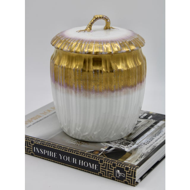 Antiques French Limoges Lavender Gold and White Biscuit Jar For Sale - Image 10 of 11