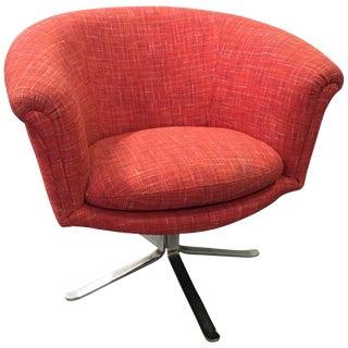 1970s Vintage Nicos Zographos Modern Swivel Barrel Chair For Sale