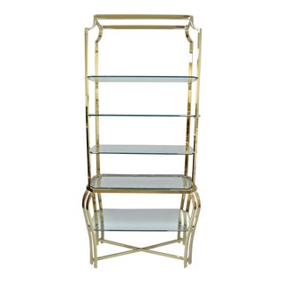 Milo Baughman Style Hollywood Regency Brass & Glass Etagere Bookcase