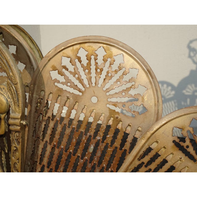 Vintage Brass Old Peacock Style Fan Fireplace Screen For Sale In Los Angeles - Image 6 of 10
