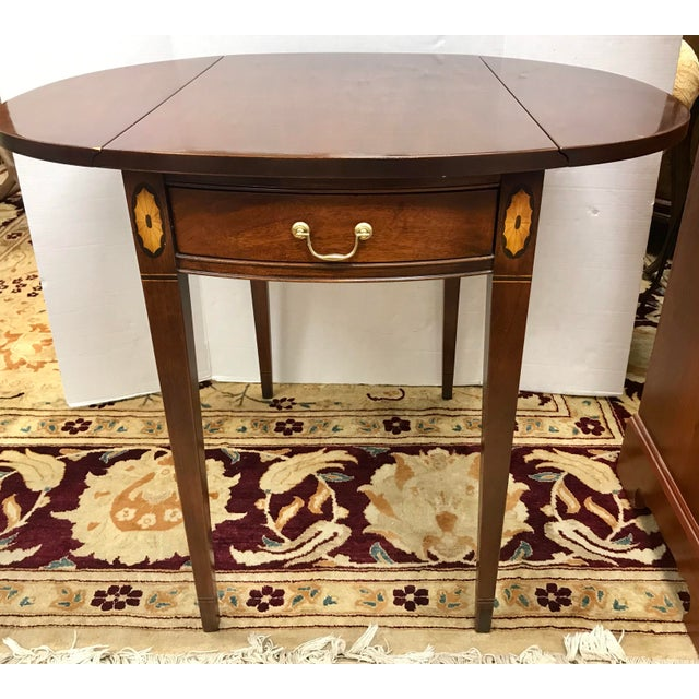Federal 20th Century Federal Hickory Chair Mahogany Inlay Drop Leaf End Tables - a Pair For Sale - Image 3 of 10