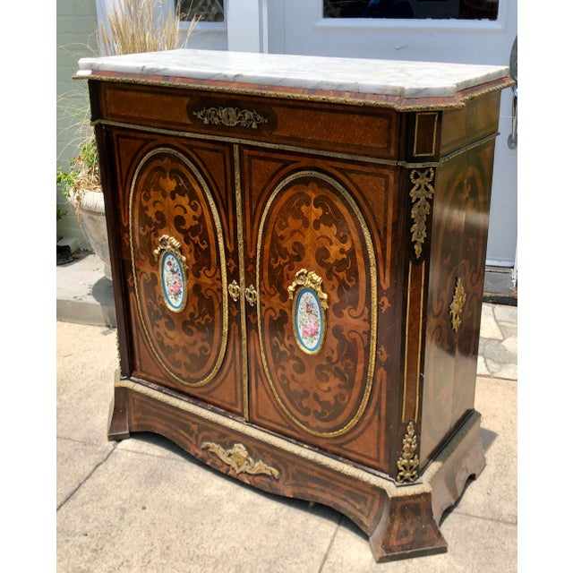 French Antique 19c Dutch Marquetry Inlaid Marble Top Buffet Cabinet W German Porcelain Medallions For Sale - Image 3 of 6