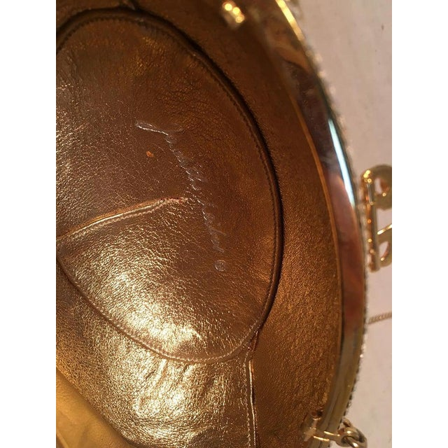 Gold Judith Leiber Swarovski Crystal Clear and Gold Faberge Egg Minaudiere For Sale - Image 8 of 10