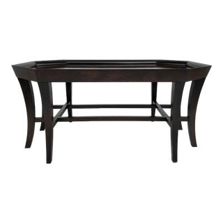 Transitional Hickory Co. Octagonal Burl Wood Coffee Table For Sale