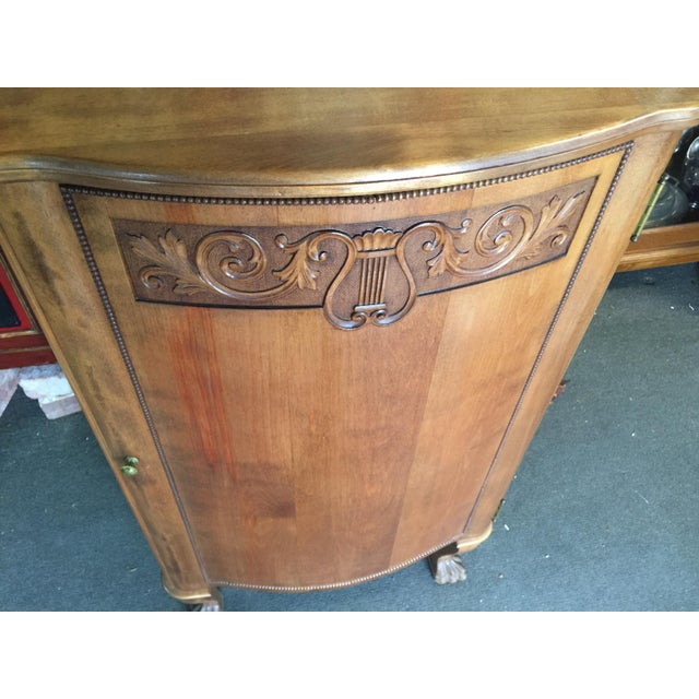 Circa 1920 Sheet Music Cabinet , refinished, In excellent condition, made from Mahogany, Carved door. Six shelves, not...