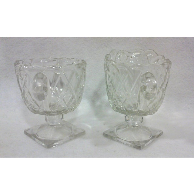Deco Glass Footed Creamer & Sugar Bowls - A Pair - Image 3 of 4