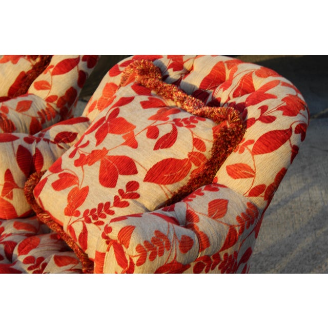 Contemporary Cream With Red Leaf Upholstery Club Chairs With Ottomans - a Pair For Sale - Image 4 of 8