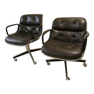 Brown Leather Knoll Pollock Executive Chairs- A Pair For Sale