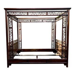 Vintage Baker Faux Bamboo Canopy Bed For Sale