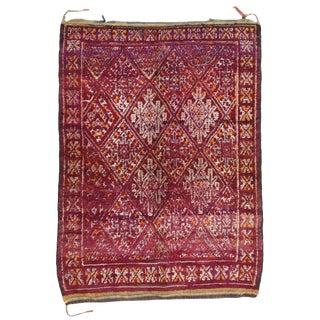Vintage Mid-Century Berber Moroccan Rug - 6′2″ × 8′ For Sale