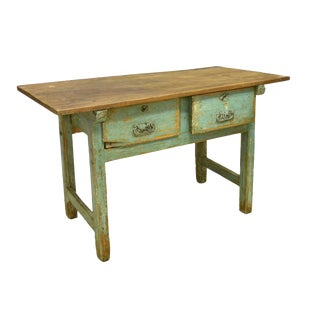 Antique Rustic Spanish Distressed Farmhouse Work Table For Sale