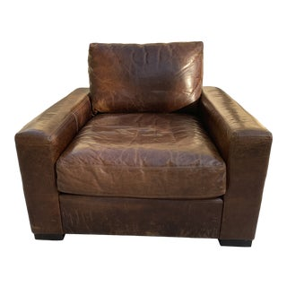 Restoration Hardware Maxwell Leather Chair For Sale