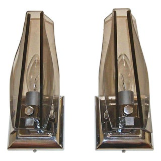 Italian Glass Fontana Arte Style Sconces - A Pair