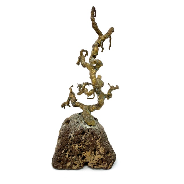 Mid 20th Century Vintage Mid-Century Brass and Stone Tree Sculpture For Sale - Image 5 of 13