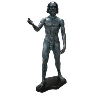 20th Century Italian Large Bronze Statue in Hellenistic Greek Style For Sale