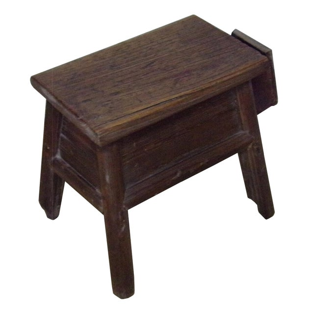 Chinese Raw Wood Rough Finish Accent Single Sitting Stool w Drawer For Sale - Image 4 of 7