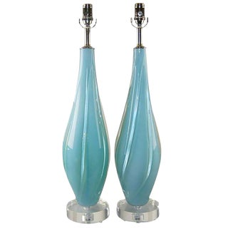 Vintage Murano Opaline Glass Table Lamps Blue For Sale