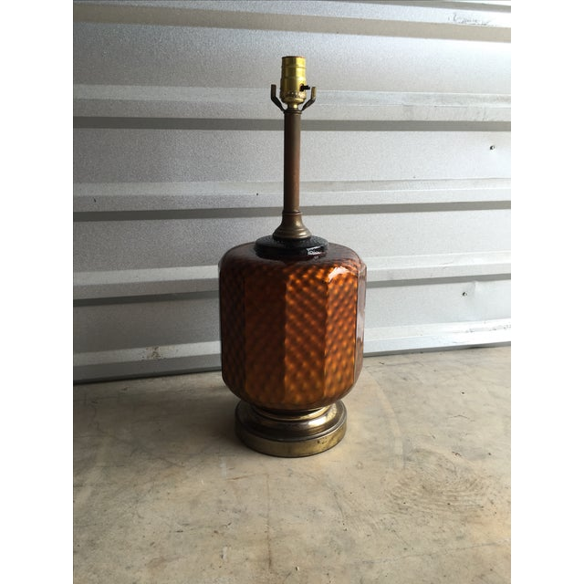 Mid Century Brass & Amber Glass Lamp - Image 3 of 6