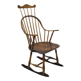 Antique Colonial Bow Back Windsor Oak & Pine Rocking Chair For Sale
