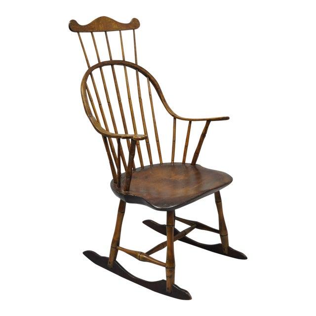 Antique Colonial Bow Back Windsor Oak & Pine Rocking Chair - Antique Colonial Bow Back Windsor Oak & Pine Rocking Chair Chairish