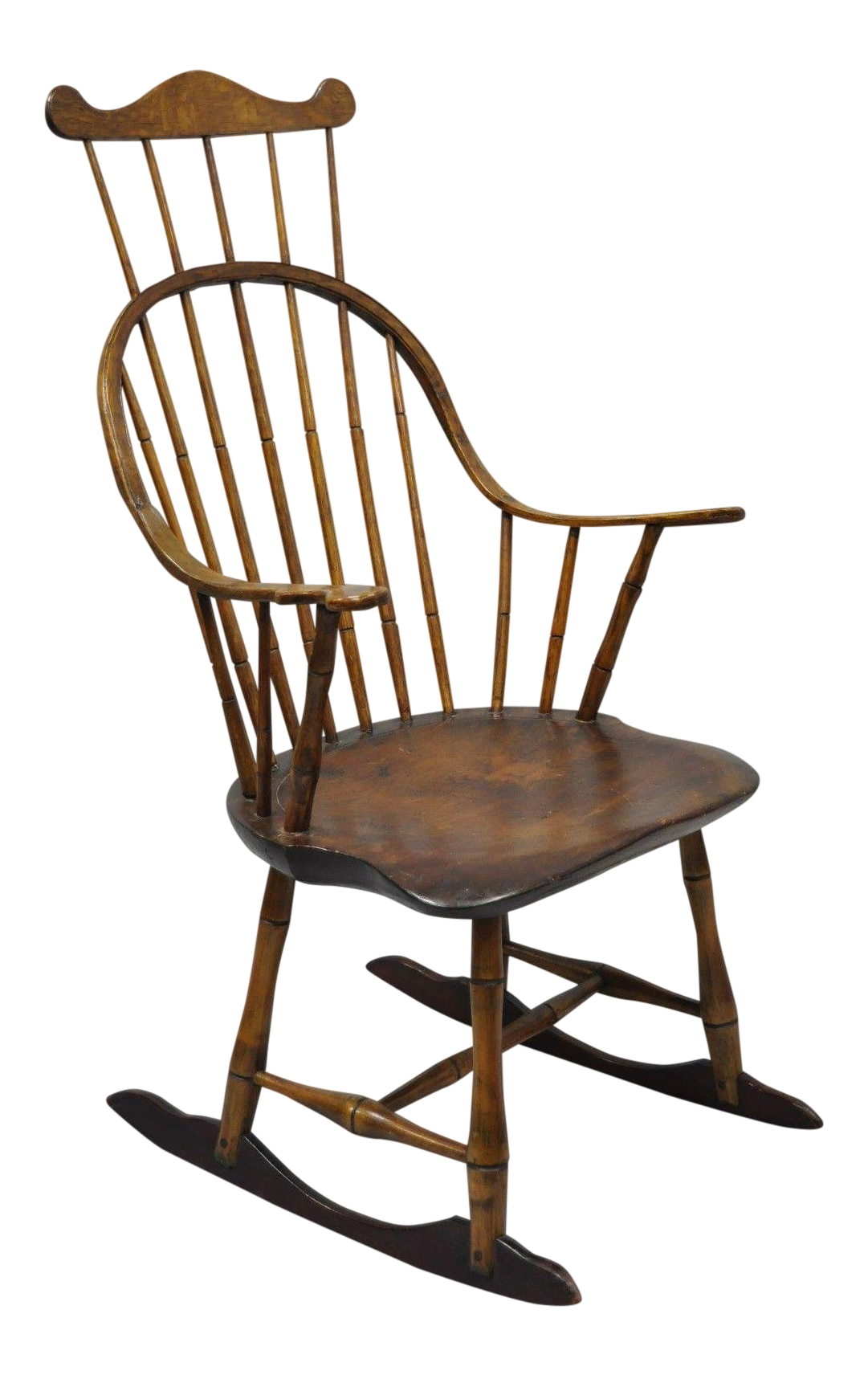 Antique Colonial Bow Back Windsor Oak U0026 Pine Rocking Chair