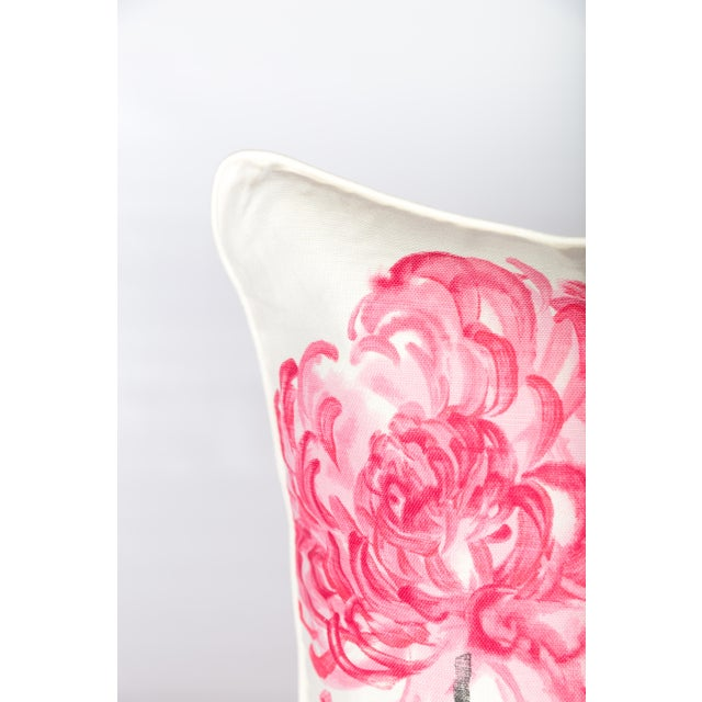 Pair of custom pink, charcoal, and ivory linen pillows made from Designer's Guild Tokyo Dahlia pattern fabric. Patterns on...